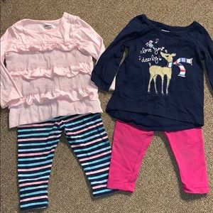Gymboree girls 12-18m legging/long slv shirt set